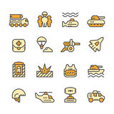 Set line icons of army. Isolated on white Royalty Free Stock Images
