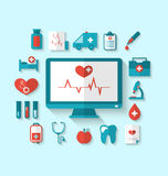 Set flat icons of objects and equipments medicine laboratory Royalty Free Stock Photography