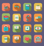 Set Flat Icons Of Web Design Objects, Business, Office And Marketing Items, Long Shadow Style Stock Photo
