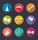 Set flat icons of party objects with long shadows Royalty Free Stock Images