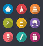 Set flat icons of party objects with long shadows Stock Photo