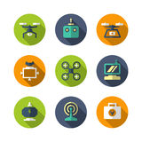 Set flat icons of quadrocopter, hexacopter, multicopter and dron Stock Photography