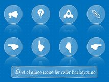 Glass transparent icons for any colored background. A set of several parts. Part 7. Set of flat icons in retro style  on colored buttons with transparent Royalty Free Stock Photos