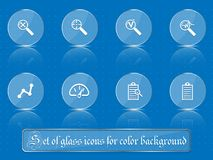 Glass transparent icons for any colored background. A set of several parts. Part 9. Set of flat icons in retro style  on colored buttons with transparent Royalty Free Stock Photo