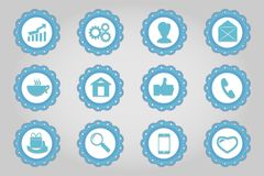 Set of flat icons in retro style. Part 2 Stock Photos