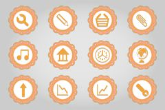 Set of flat icons in retro style. Part 4 Royalty Free Stock Images