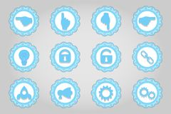Set of flat icons in retro style. Part 8 Royalty Free Stock Image