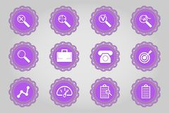 Set of flat icons in retro style. Part 11. On buttons vector illustration