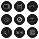 Set of flat icons on retro theme Royalty Free Stock Images