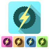 Set Flat icons of round wheel with lightning. Eco. Electric transport theme. Car and automobile industry. Vector Illustration isolated on white background Stock Images