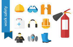Set of flat icons for safety work Stock Images