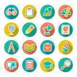 Set flat icons of school and education. With long shadow isolated on white stock illustration