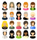 Set of flat icons set with women. Vector illustration Royalty Free Stock Photography