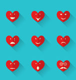 Set flat icons of smiles heart, style with long shadows Stock Images