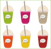 Set of smoothie colored.  with logo and label smoothie organic bar Royalty Free Stock Image