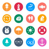 Set of flat  icons for summer sea travel. Eps10 Stock Images