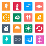 Set of flat  icons for summer sea travel. Eps10 Royalty Free Stock Photography