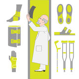 Set of Flat Icons From Surgery and Orthopedics Stock Photo