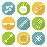 Set of flat icons of tools and accessories for. Fitness, aerobics and sport. Dumbbells, fitball, jump rope, step platform, expander, gymnastic stick, barbell Stock Photos