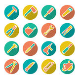 Set flat icons of tools for repair and building Royalty Free Stock Photography