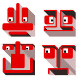 Set of flat icons toy personage. Set of flat icons geometric toy personage. Vector image Royalty Free Illustration