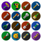 Set of flat icons with toy work tools in flat design Stock Photography