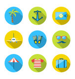 Set flat icons of traveling, tourism and journey objects Stock Image