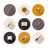 Set flat icons treasure hunter. In vector format Royalty Free Stock Photography