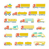 Set flat icons of trucks, trailers and vehicles. Isolated on white stock illustration
