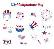 Set of flat icons for USA Independence day. Set of flat vector elements for USA Independence Day. Collection of icons for national holiday of America. 4th of Stock Photo