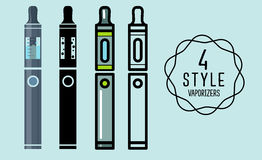 Set of flat icons vaporizers, e-cigarette. Set of vector flat silhouette icons vaporizers, Vape, e-cigarette, e-liquid ,  on background Royalty Free Stock Photography