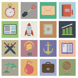 Set flat icons. 16 vector icons for your design Royalty Free Illustration