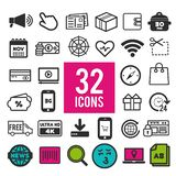 Set of flat icons for web and interface design: business shopping communication media transportation travel. Eps10 royalty free illustration