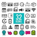Set of flat icons for web interface design: shopping, business communication media transportation. Eps10 Vector royalty free illustration
