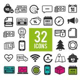 Set of flat icons for web and interface design: shopping, travel, finance, business, communication, media,. Set of flat icons for web, mobile apps and interface stock illustration