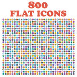 Set of 800 flat icons, for web, internet, mobile apps, interface design Stock Photography