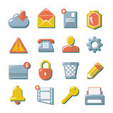 Set flat icons of web, media, and business. Set flat icons of web, media, internet, mobile, communication and business isolated on white royalty free illustration