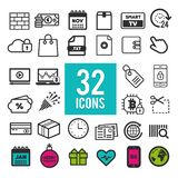 Set of flat icons for web and mobile app on white background. Collection modern infographic logo and pictogram. Set of flat icons for web and mobile app on stock illustration