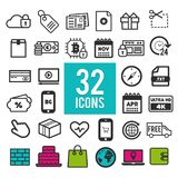 Set flat icons, for web and mobile apps - communication travel shopping business finance. Eps10 Vector Stock Photo