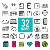 Set of flat icons for web and mobile apps - communication travel shopping business finance. On white background. Eps10 Vector Royalty Free Stock Image