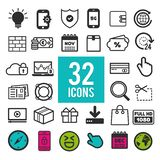 Set of flat icons for web, mobile apps and interface design: business finance shopping communication media fitness summer. Eps10 royalty free illustration