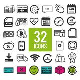 Set of flat icons for web, mobile apps and interface design: business transportation travel finance shopping communication. Media fitness summe, computer easter vector illustration