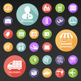 Set of flat icons for web and mobile. Set of 27 flat icons. Business, shopping and delivery icons with long shadow Stock Images