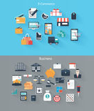 Set of flat icons for web and mobile devices, e-co Stock Photography