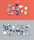 Set of flat icons for web and mobile devices, soci Stock Image
