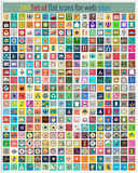 340 Set of flat icons. For web sites, internet, interface design, mobile applications business, finance and shopping, communication and computer, media and Royalty Free Stock Photography