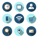 Set of Flat icons for web, vector. Wi-fi flat icon. Shopping basket flat icon. Smartphone flat icon. Location, clock, notebook an royalty free illustration
