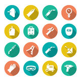 Set flat icons of welding Stock Photography