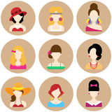 Set of Flat Icons with Women Characters. Set of Flat Circle Icons with Different Women Fashion Styles. Vector characters Stock Image