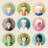 Set of  flat icons with women. Stock Image